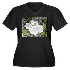 Magnolia tree flower art wate Women's Plus Size V-