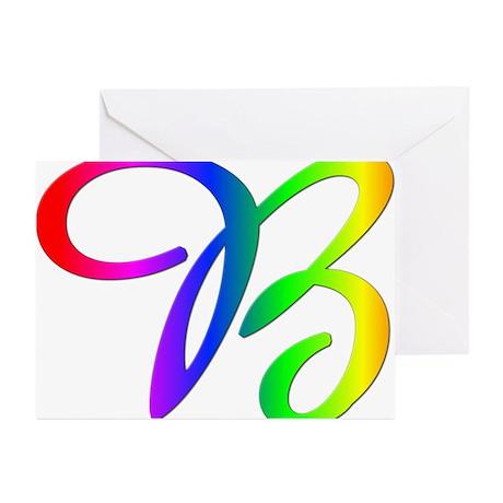 Rainbow Cursive B Greeting Cards (Pk of 10)