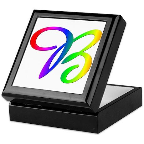 Rainbow Cursive B Keepsake Box