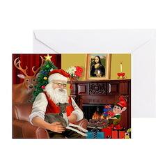 Santa's Ital.Greyt (6) Greeting Cards (Pk of 20)