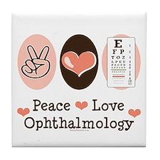 Peace Love Ophthalmology Tile Coaster