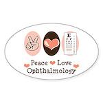Peace Love Ophthalmology Oval Sticker (10 pk)