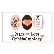 Peace Love Ophthalmology Rectangle Decal