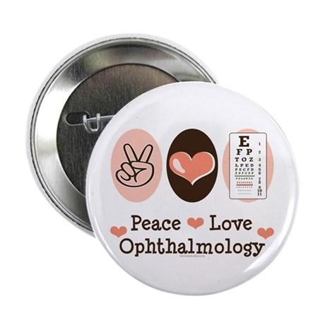 """Peace Love Ophthalmology 2.25"""" Button (10 pack)"""