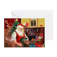 Santa's Greyhound(brin) Greeting Cards (Pk of 20)