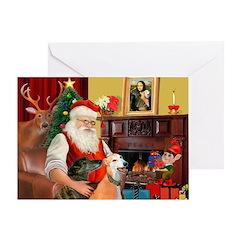 Santa's Greyhound pair Greeting Card