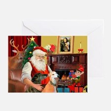 Santa's Greyhound pair Greeting Cards (Pk of 10)