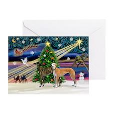 XmasMagic/2Greyhounds Greeting Card