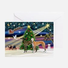 XmasMagic/2Greyhounds Greeting Cards (Pk of 20)