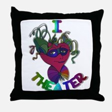 Cute I Love Theater Throw Pillow