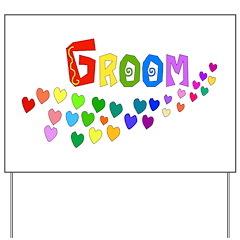 Groom Rainbow Hearts Yard Sign
