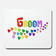 Groom Rainbow Hearts Mousepad