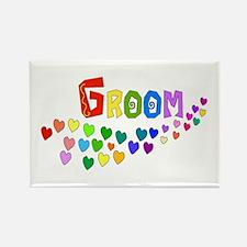Groom Rainbow Hearts Rectangle Magnet