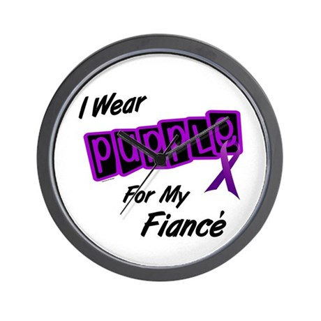 I Wear Purple For My Fiancé 8 Wall Clock