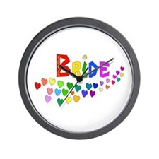 Rainbow Hearts Bride Wall Clock