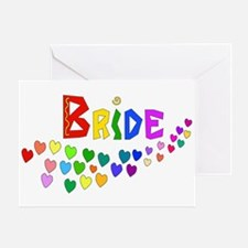 Rainbow Hearts Bride Greeting Card