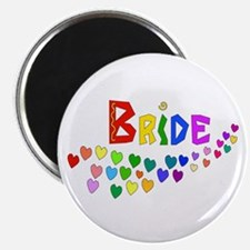 Rainbow Hearts Bride Magnet