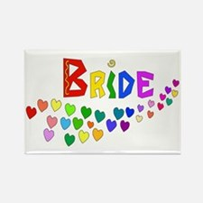 Rainbow Hearts Bride Rectangle Magnet