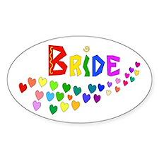 Rainbow Hearts Bride Decal
