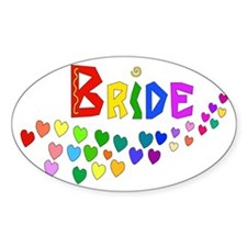 Rainbow Hearts Bride Decal