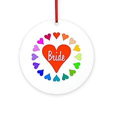 Rainbow Hearts Bride Ornament (Round)