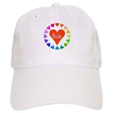 Rainbow Hearts Bride Baseball Cap