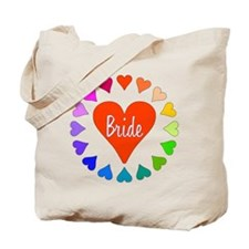Rainbow Hearts Bride Tote Bag