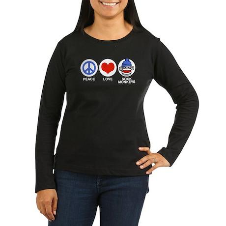 Peace Love Sock Monkeys Women's Long Sleeve Dark T