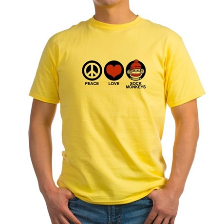 Peace Love Sock Monkeys Yellow T-Shirt