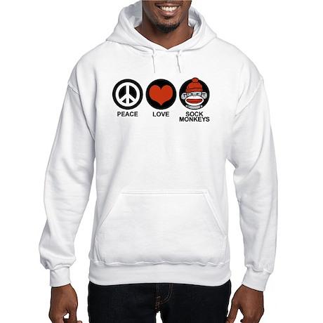 Peace Love Sock Monkeys Hooded Sweatshirt