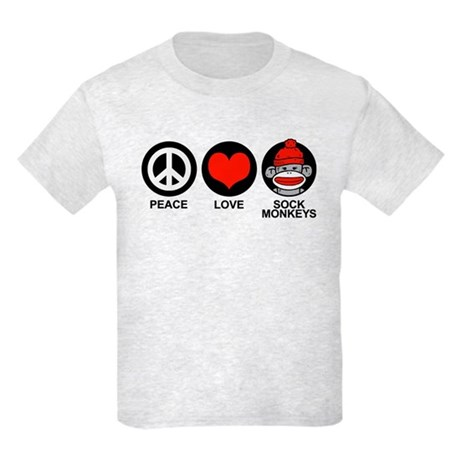 Peace Love Sock Monkeys Kids Light T-Shirt