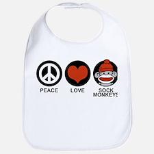 Peace Love Sock Monkeys Bib