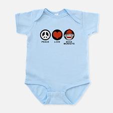 Peace Love Sock Monkeys Infant Bodysuit