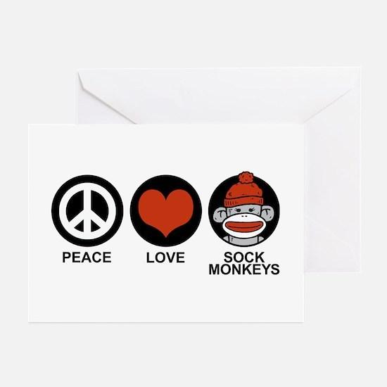 Peace Love Sock Monkeys Greeting Cards (Pk of 10)
