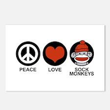 Peace Love Sock Monkeys Postcards (Package of 8)