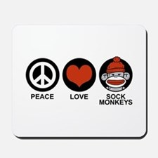 Peace Love Sock Monkeys Mousepad