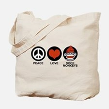 Peace Love Sock Monkeys Tote Bag