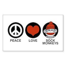 Peace Love Sock Monkeys Rectangle Decal
