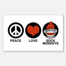 Peace Love Sock Monkeys Rectangle Decal