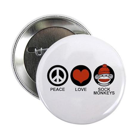 """Peace Love Sock Monkeys 2.25"""" Button"""