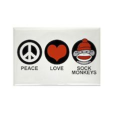 Peace Love Sock Monkeys Rectangle Magnet