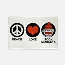 Peace Love Sock Monkeys Rectangle Magnet