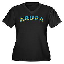 Curve Aruba Women's Plus Size V-Neck Dark T-Shirt