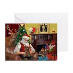 Santa's Yorkie (#11) Greeting Cards (Pk of 10)