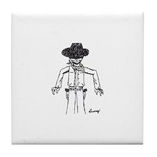 Cowboy Sketch Tile Coaster