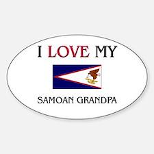 I Love My Samoan Grandpa Oval Decal