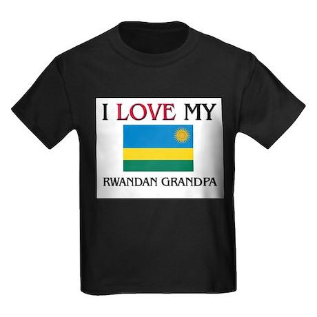 I Love My Rwandan Grandpa Kids Dark T-Shirt