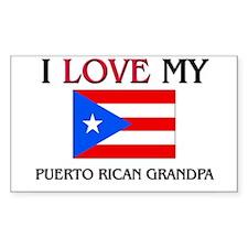 I Love My Puerto Rican Grandpa Rectangle Decal
