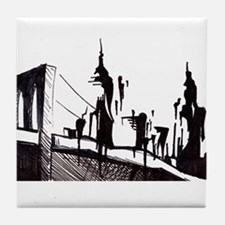 Funny Brooklyn bridge Tile Coaster