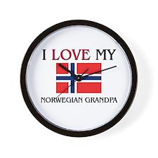 I Love My Norwegian Grandpa Wall Clock